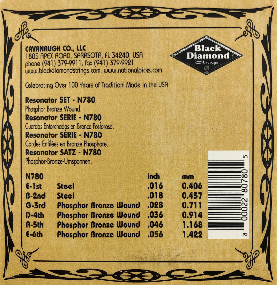 Black Diamond N780B Black Coated Resonator Guitar Strings