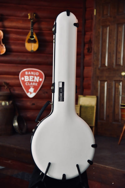 Calton Cases Bluegrass Resonator Banjo Flight Case - White With Blue Interior