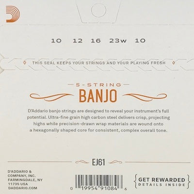D'Addario EJ61 Medium Nickel Banjo Strings