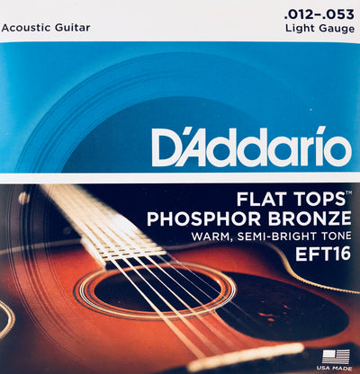 D'Addario EFT16 Phosphor Bronze Flat Top Light Guitar Strings
