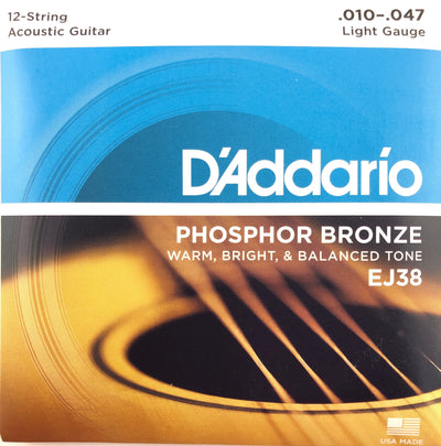 D'Addario EJ38 Phosphor Bronze Light Gauge 12-String Guitar Strings