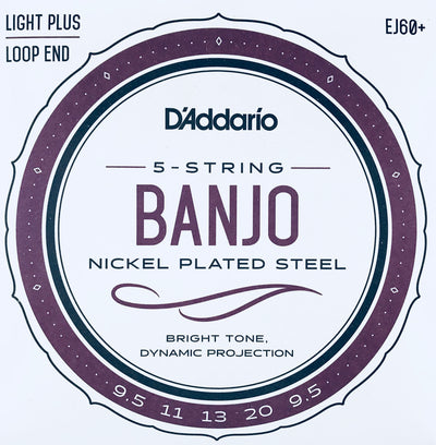 D'Addario EJ60+ Light Plus Nickel Banjo Strings