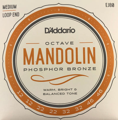 D'Addario EJ80 Medium Phosphor Bronze Octave Mandolin Strings