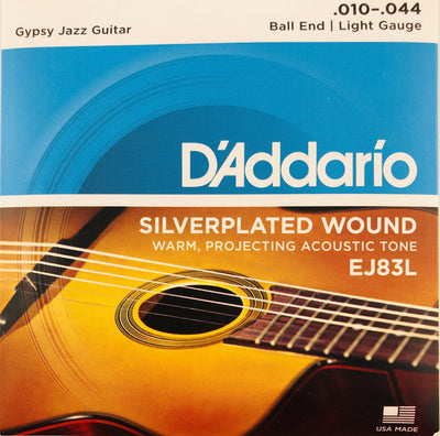 D'Addario EJ83L Silverplated Wound Ball End Light Gauge Gypsy Jazz Guitar Strings