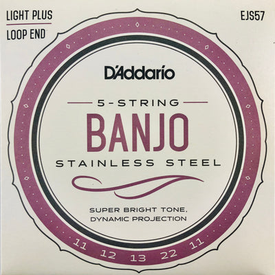 D'Addario EJS57 Custom Medium Stainless Steel Banjo Strings