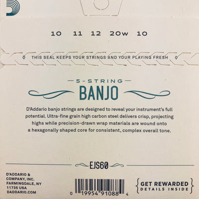 D'Addario EJS60 Light Stainless Steel Banjo Strings