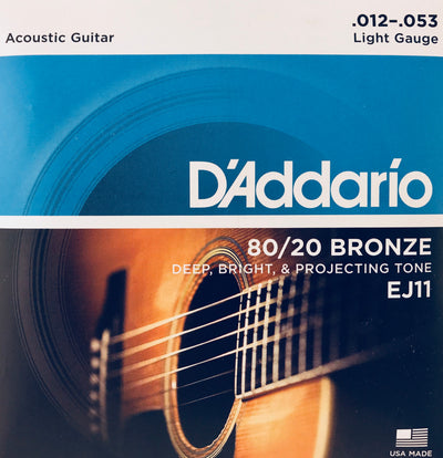 D'Addario EJ11 80/20 Bronze Light Guitar Strings