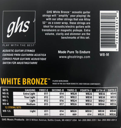 GHS White Bronze Medium Acoustic/Electric Guitar Strings