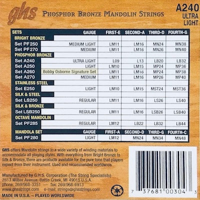 GHS A240 Ultra Light Phosphor Bronze Mandolin Strings