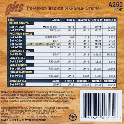 GHS A250 Light Phosphor Bronze Mandolin Strings