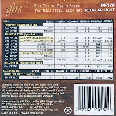 GHS PF170 Regular Light Stainless Steel Banjo Strings