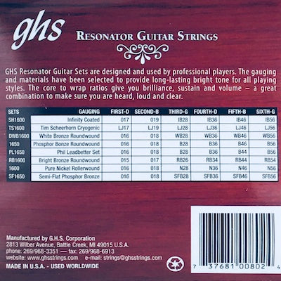 GHS Set 1600 Resonator Guitar Strings