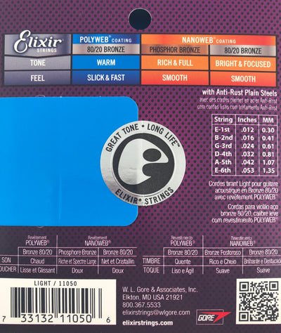 Elixir Polyweb 80/20 Bronze Acoustic Guitar Strings (Choose Gauge)