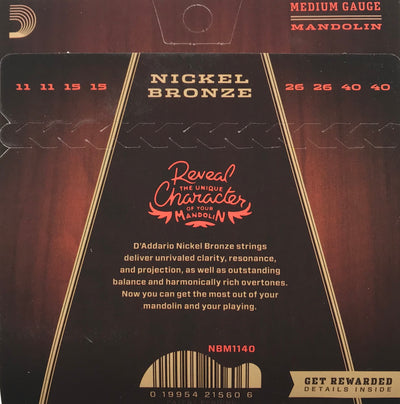 D'Addario Nickel Bronze Medium Mandolin Strings NBM1140