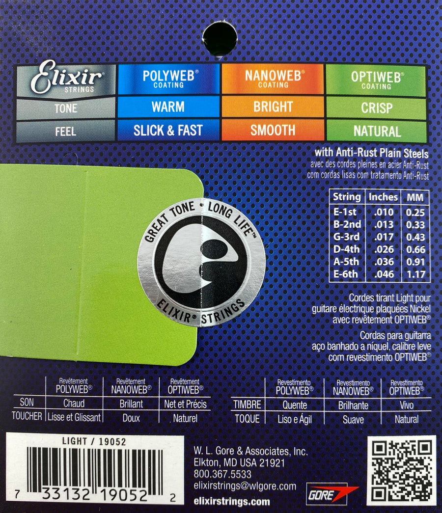 Elixir 19052 Optiweb 10/46 Nickel Plated Steel Light Electric Guitar Strings