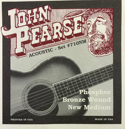 John Pearse Set# 710NM Phosphor Bronze Wound New Medium Acoustic Guitar Strings