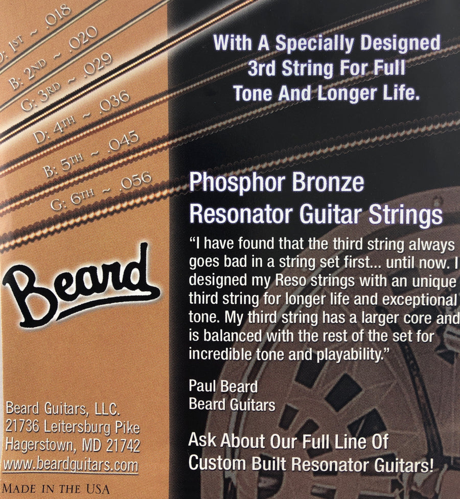 Beard Special 29's Phosphor Bronze Resonator Guitar Strings