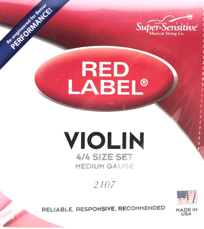 Red Label Violin Fiddle Strings 4/4 Size Medium Tension