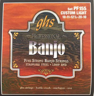 GHS PF155 Stainless Steel Loop End Custom Light Gauge 5-String Banjo Strings