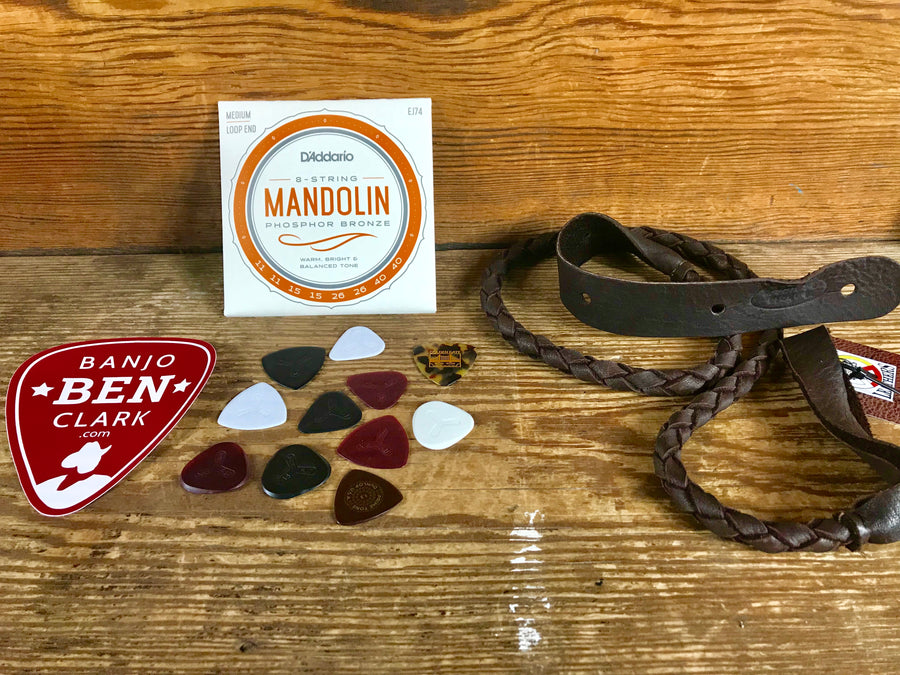 Mandolin Pickers Gift Bundle - Strap, Strings, and Picks