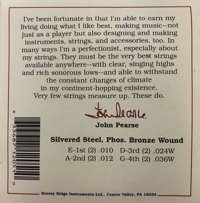 John Pearse Set#2050L Bronze Wound Light Phosphor Gauge Mandolin Strings