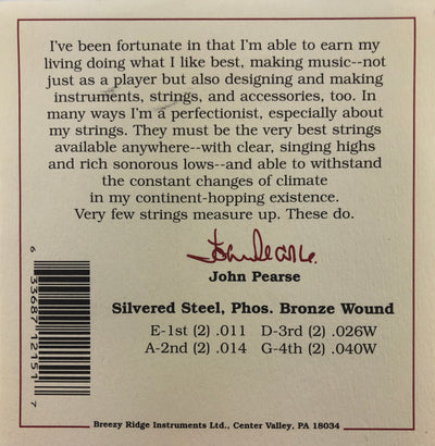 John Pearse Set #2150M Phosphor Bronze Wound Medium Gauge Mandolin Strings