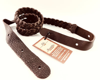Lakota Flat Braided Mandolin Strap With Strap Button Ends - Available in Brown or Tobacco