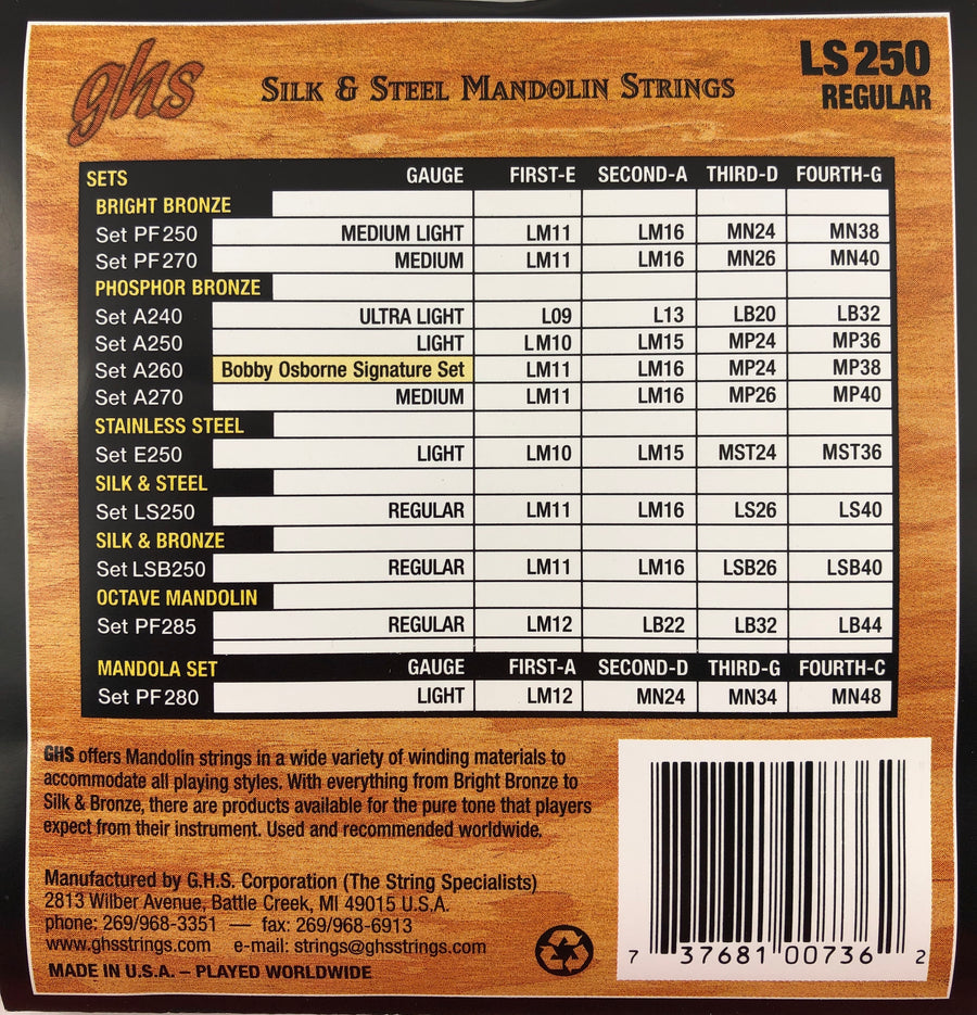 GHS LS250 Regular Silk And Steel Mandolin Strings