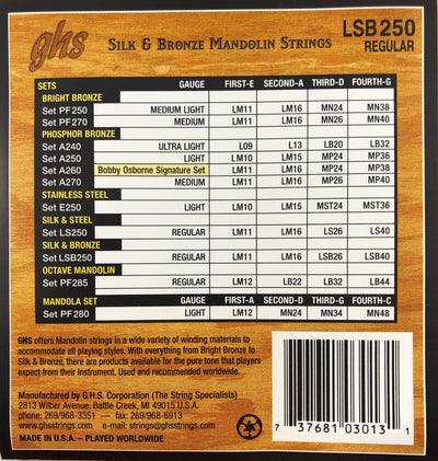 GHS LSB250 Regular Silk And Bronze Mandolin Strings