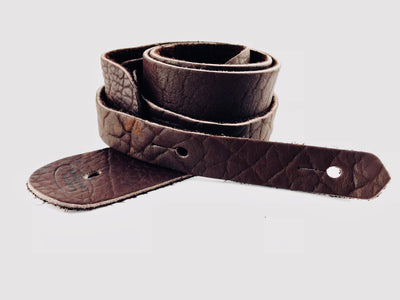 "Lakota Bison Leather 2"" Guitar Strap - Available in Brown or Tobacco Finish"