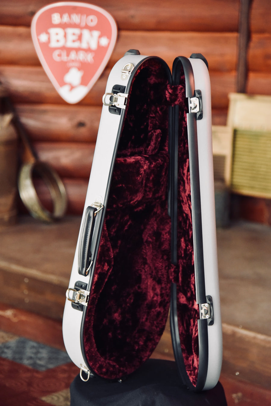 Calton Cases Mandolin Flight Case - Gray With Burgundy Interior