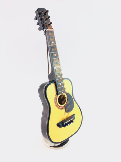 "7"" Mini Musical Acoustic Guitar Replica 3 pc Gift Set - Decor with Display Stand and Case"