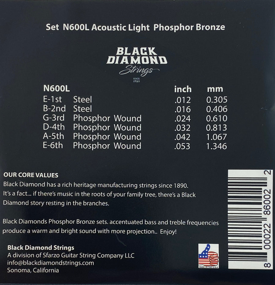 Black Diamond N600L Acoustic Guitar Strings - Phosphor Bronze Light Gauge
