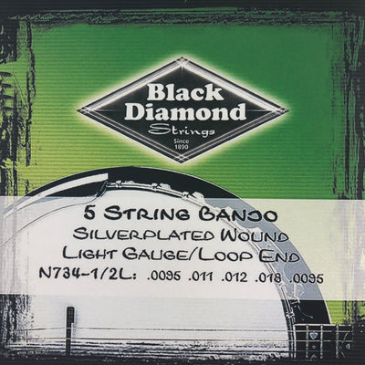 Black Diamond N734-1/2L Light Banjo Strings- Silverplated Wound