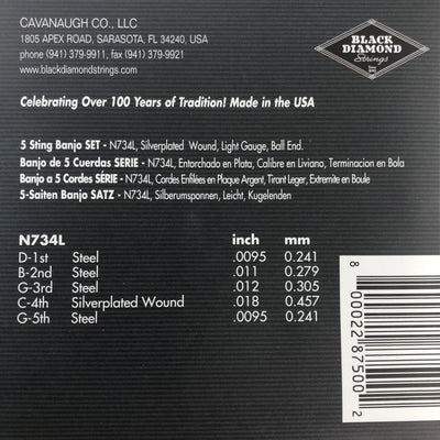 Black Diamond N734L Light Banjo Strings- Silverplated Ball End