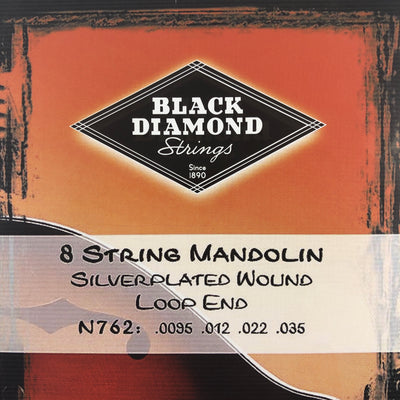 Black Diamond N762 Mandolin Strings - Silverplated Wound Loop End