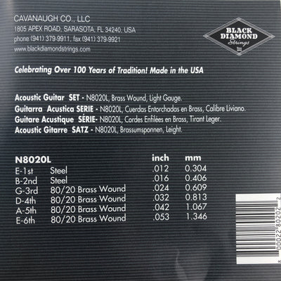 Black Diamond N8020L Acoustic Guitar Strings - Brass Wound Light Gauge