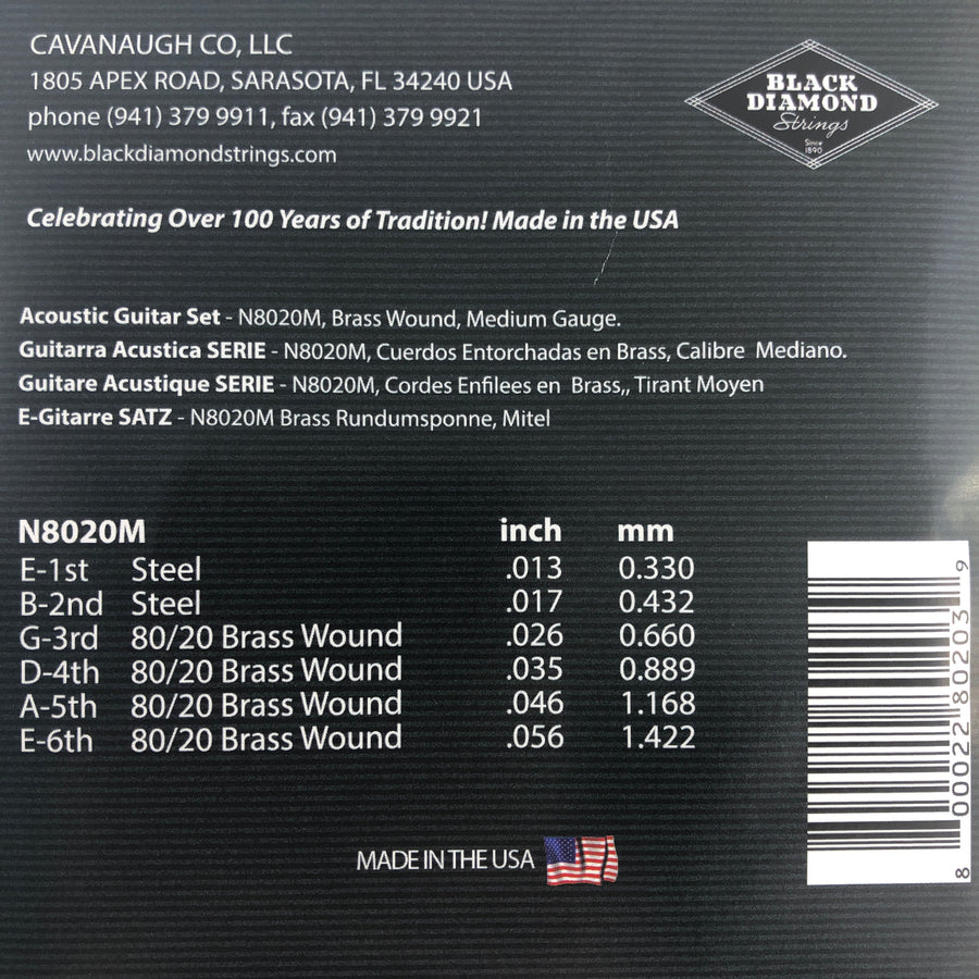 Black Diamond N8020M Acoustic Guitar Strings - Brass Wound Medium Gauge