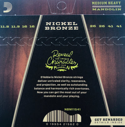 D'Addario Nickel Bronze Medium Heavy Mandolin Strings NBM11541