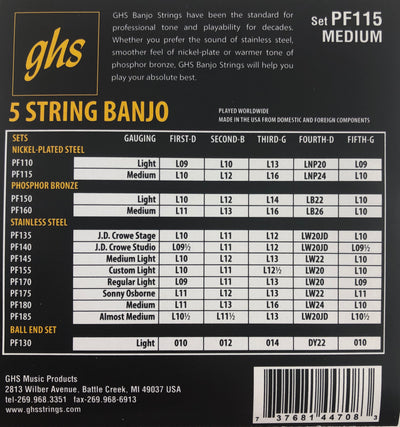 GHS PF115 Medium Nickel Plated Steel 5-String Banjo Strings