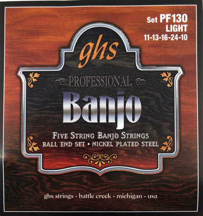 GHS PF130 Light Nickel Ball-End Banjo Strings