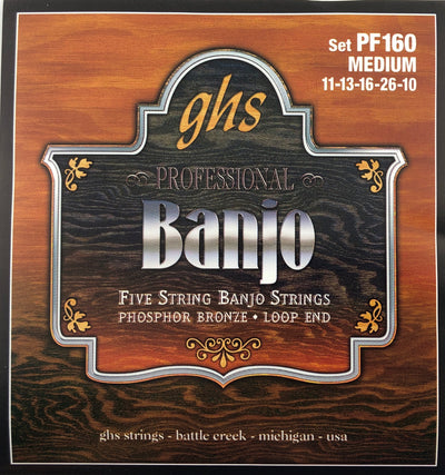GHS PF160 Medium Phosphor Bronze Banjo Strings