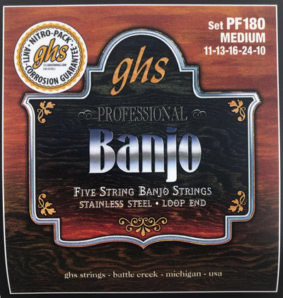 GHS PF180 Medium Stainless Steel 5-String Banjo Strings