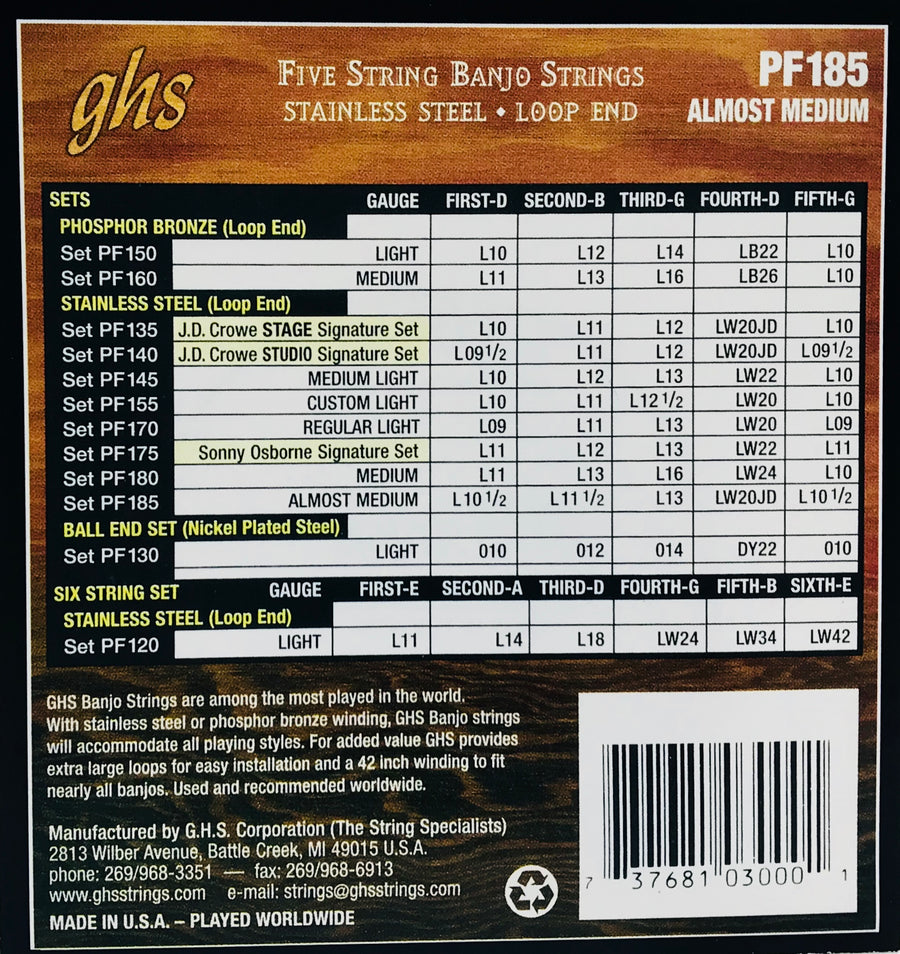 GHS PF185 Almost Medium Stainless Banjo Strings