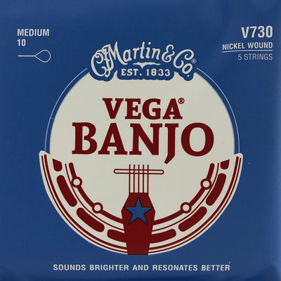 Martin & Co. V730 Vega Medium Nickel Wound 5-String Banjo Strings