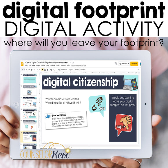 Digital Footprint Digital Activity for Google Classroom Distance Learning