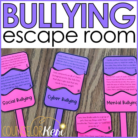 Bullying Prevention Escape Room: Bullying Activity for School Counseling