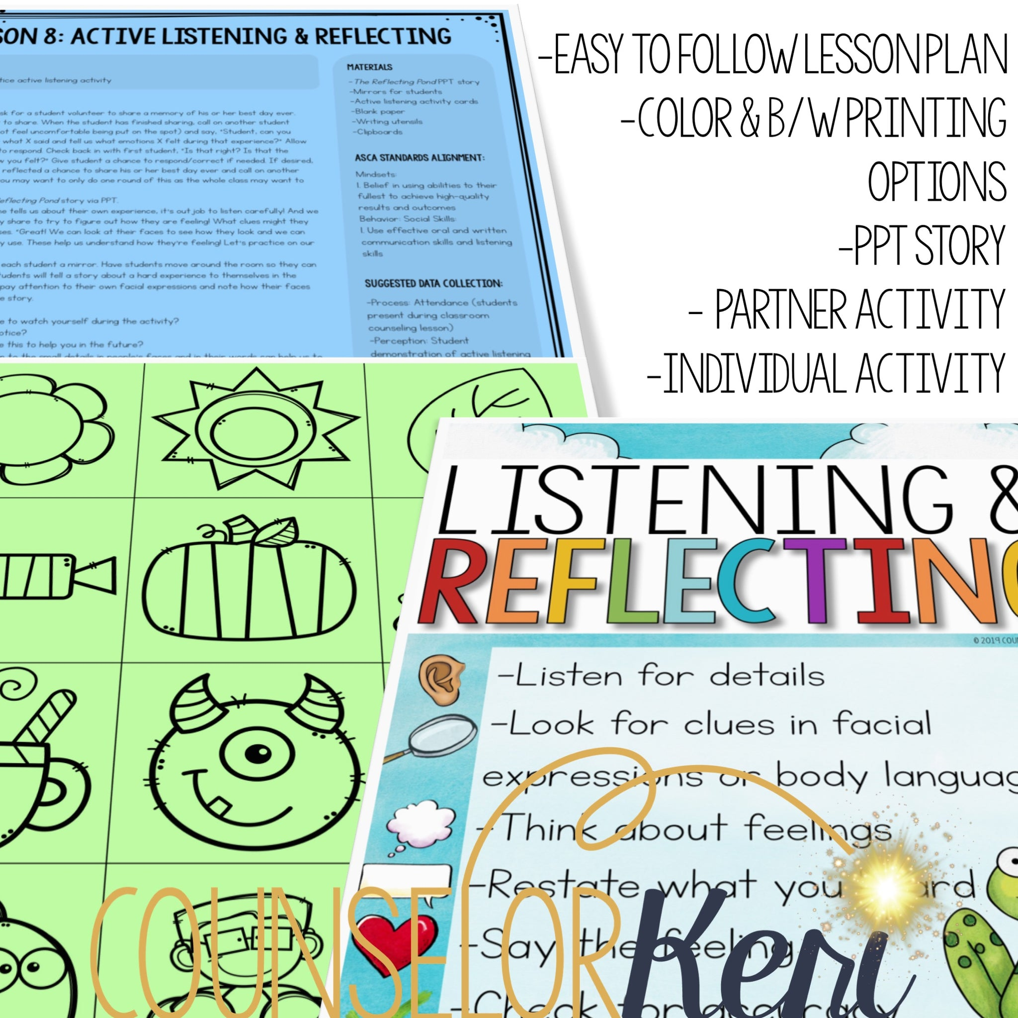 Active Listening & Reflecting Classroom Guidance Lesson for Conflict