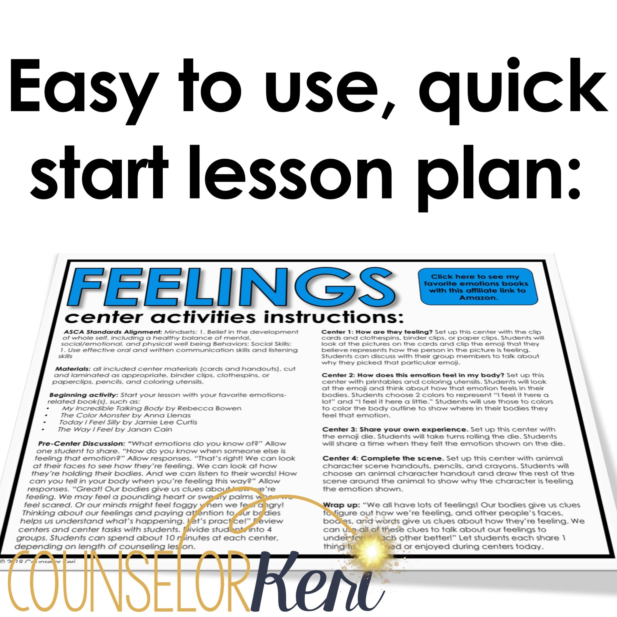 Feelings Activity School Counseling Centers Classroom