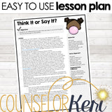Think It or Say It Social Filter Digital Activity for Elementary School Counseling